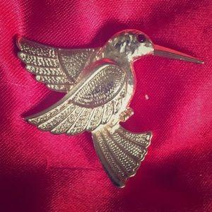 Vtg. Hummingbird Brooch Red Rhinestone Eye